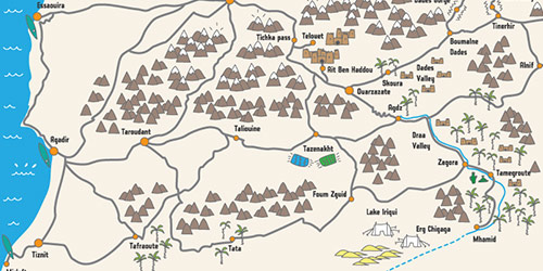 Wild Morocco map of desert camps