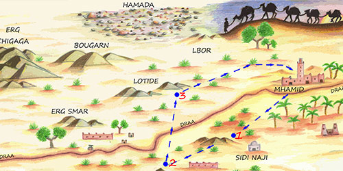 Wild Morocco map of desert treks
