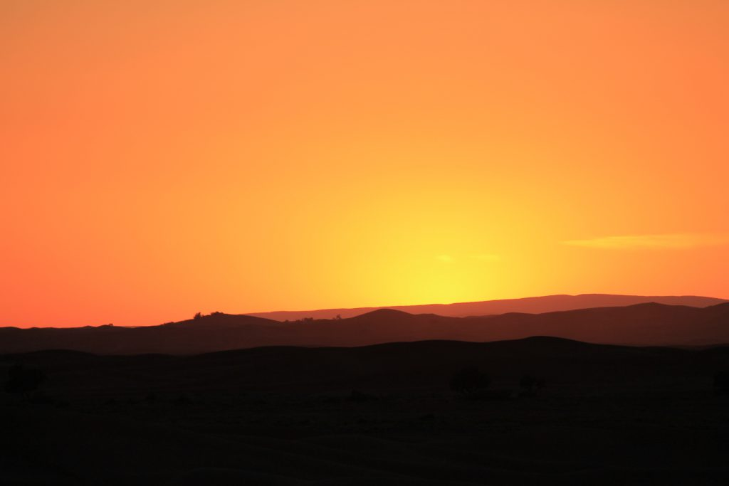 Desert sunset in Morocco - Erg Chigaga great dunes