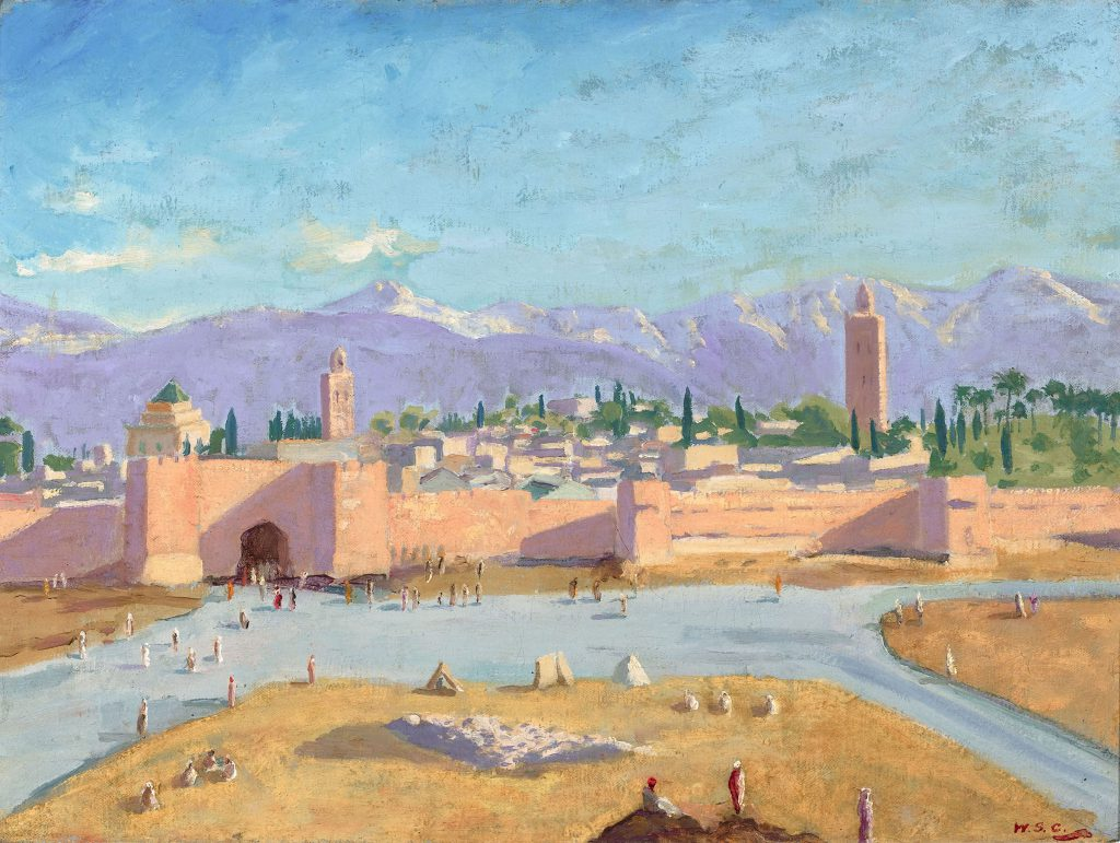 Churchill painting Koutoubia Mosque and Marrakech